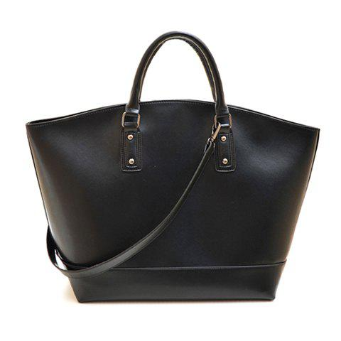Fashion Rivets and Solid Color Design Tote Bag For Women - BLACK