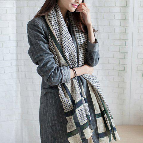 Elegant Printed Colored Striped Long Scarf For Women - GREEN