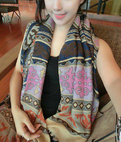 Vintage Chic Totem Embellished Long Scarf For Winter For Women - COLOR ASSORTED