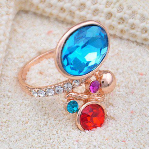Chic Diamante Colored Faux Gemstone Ring For Women
