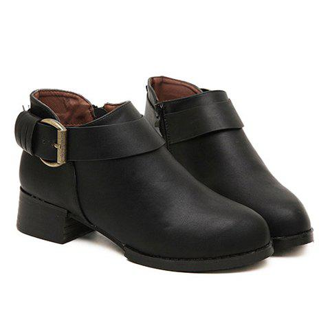 Casual Style Buckle and PU Leather Design Women's Ankle Boots - BLACK 37