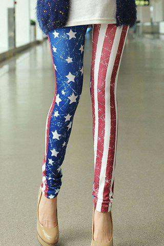 Stripe Color Block Skinny Casual Style Star Print Women's Leggings