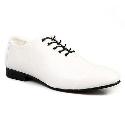 British Style Solid Color and Lace-Up Design Men's Formal Shoes - WHITE 39