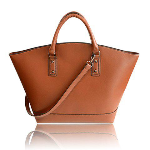 Trendy Zipper and PU Leather Design Women's Tote Bag, BROWN in ...