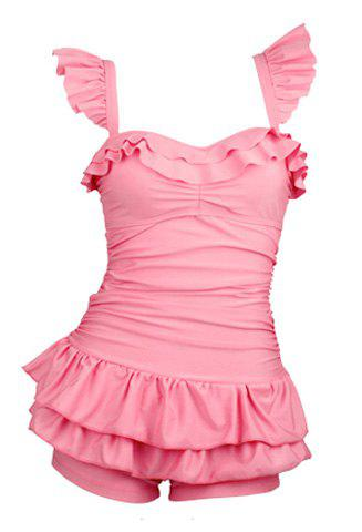 Cute Spaghetti Strap Solid Color Slimming Ruffle Embellished Swimsuit For Women - PINK XL