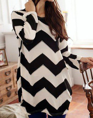 Long Sleeves Scoop Neck 2-Toned Ripple Pattern Long Sections Plus Size Women's Simple T-shirt - AS THE PICTURE L