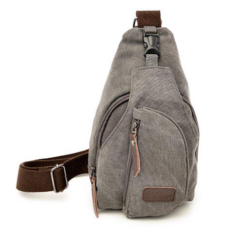 Casual Style Solid Color and Canvas Design Men's Cross-Body Bag