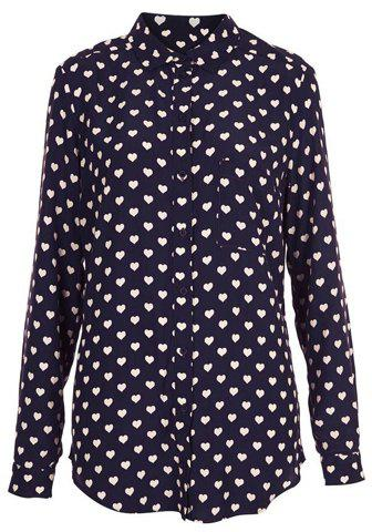 Cute Turn-Down Collar Heart-Shaped Print Single-Breasted Long Sleeves Women's Shirt - AS THE PICTURE M
