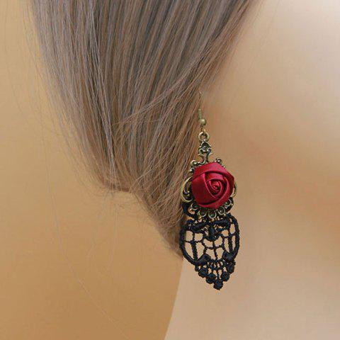 Pair of Flower Openwork Drop Earrings - AS THE PICTURE