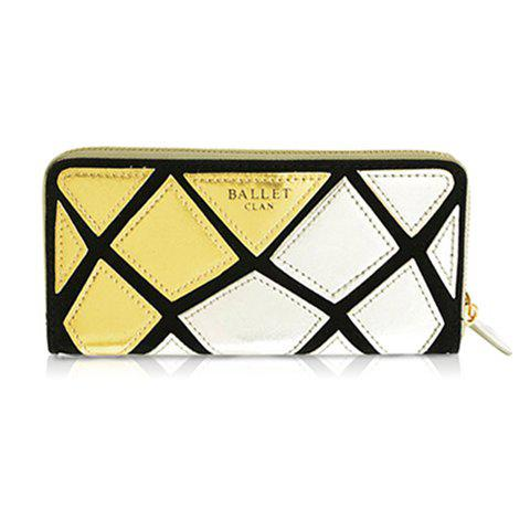 Pretty Geometric and Color Block Design Clutch Wallet For Women - GOLD