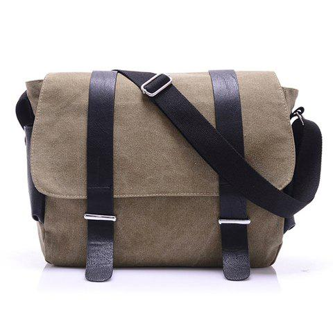 Trendy Splice anf Metallic Design Messenger Bag For Men - BROWN