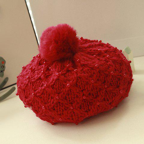 Cute Pompon Embellished Beaded Solid Color Woolen Hat For Women - COLOR ASSORTED