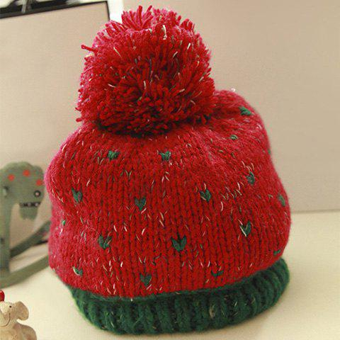 Chic Big Fluffy Pompon Embellished Colored Woolen Hat For Women - COLOR ASSORTED