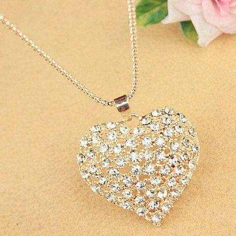 Sweet Cute Rhinestone Heart Pendant Women's Sweater Chain Necklace - AS THE PICTURE