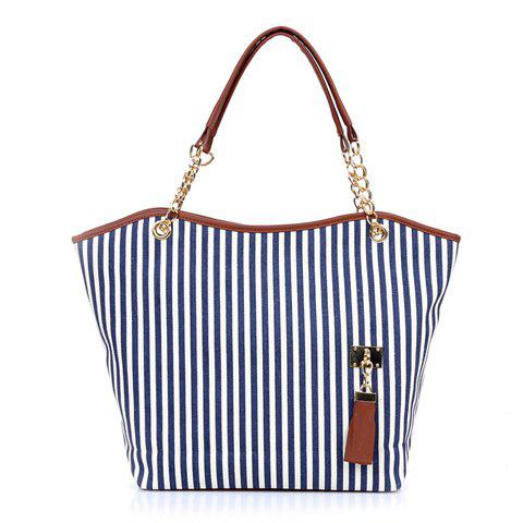 Stylish Striped and Metallic Chains Design Shoulder Bag For Women - BLUE