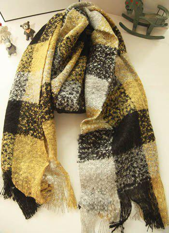 Chic Colormix Plaid Long Scarf For Women - COLOR ASSORTED