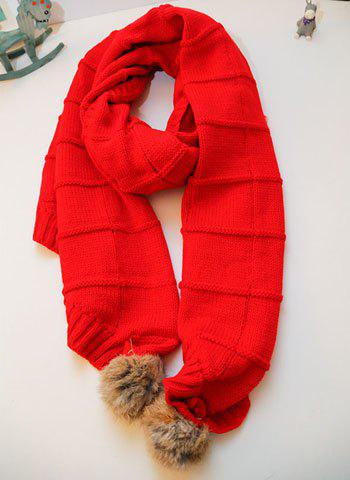 Fashion Fluffy Ball Embellished Solid Color Long Scarf For Women - COLOR ASSORTED