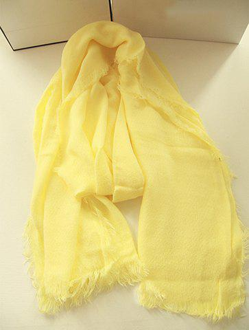 Elegant Solid Color Long Scarf With Tassels For Women