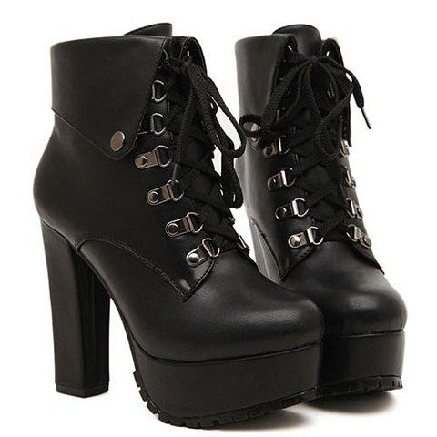 Casual Style Folding and Platform Design Short Boots For Women - BLACK 38