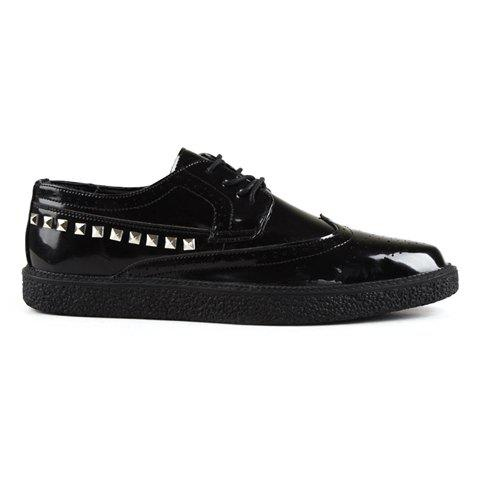 British Style Rivets and Openwork Design Men's Casual Shoes - BLACK 40