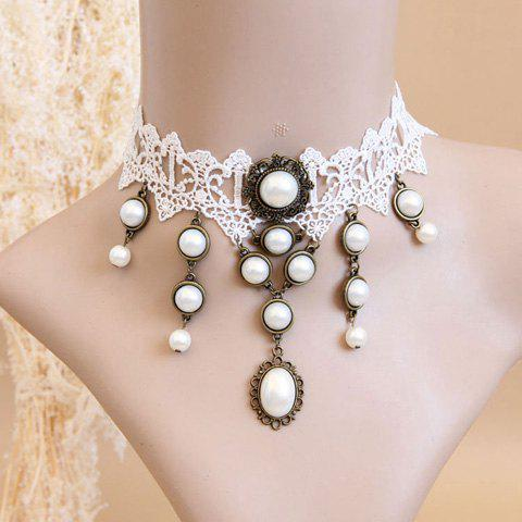 Chic Faux Pearl Pendant Lolita Lace Necklace For Women - AS THE PICTURE