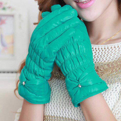 Pair of Warm Bowknot Embellished Ruffle Design Solid Color Gloves For Winter For Women - COLOR ASSORTED