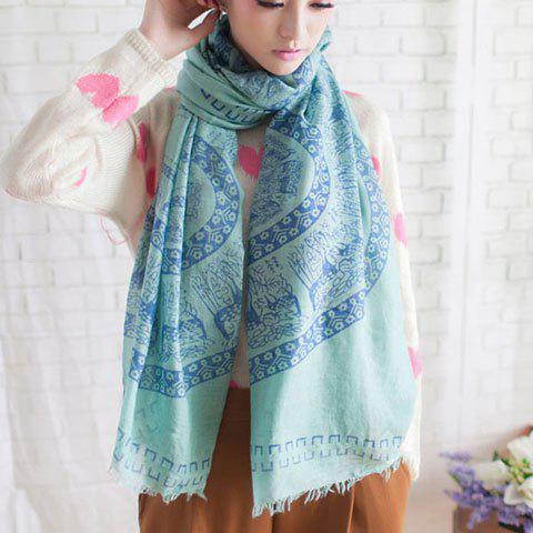 Bohemian Deer Pattern Embellished Printed Colored Long Scarf For Women