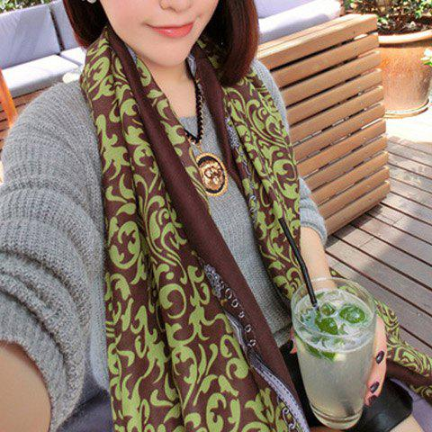 Fashion Flowery Colored Long Scarf With Tassels For Winter For Women - COLOR ASSORTED