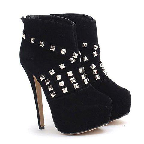 Trendy Sexy High Heel and Rivets Design Short Boots For Women - BLACK 39