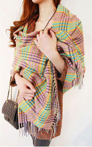 Versatile Light Colored Plaid Long Scarf With Tassels For Winter For Women - COLOR ASSORTED