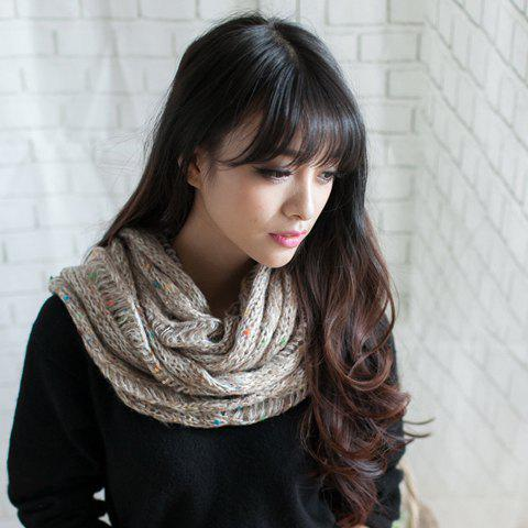 Chic Style Openwork Design Knitted Scarf - KHAKI