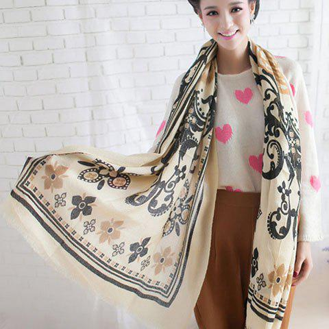 Versatile Printed Light Color Long Scarf For Winter For Women
