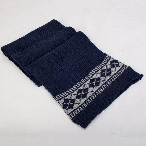 Simple Warm Cross Pattern Cashmere Scarf - NAVY