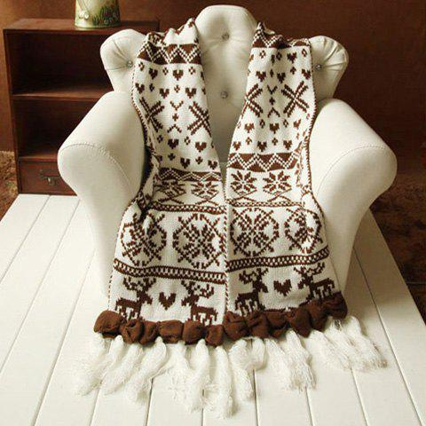 Vintage Chic Solid Bowknot Embellished Printed Long Scarf For Winter For Women - COFFEE
