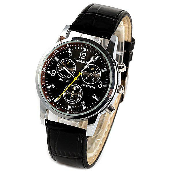 WoMaGe Quartz Watch with Rectangles Hour Marks Real Leather Watchband for Women - BLACK