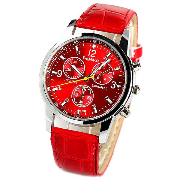 WoMaGe Quartz Watch with Rectangles Hour Marks Real Leather Watchband for Women - RED