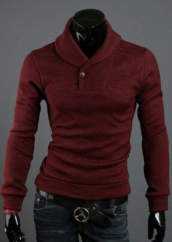 Korean Style Solid Color Polo Collar Long Sleeves Cotton Blend Sweater For Men - WINE RED M