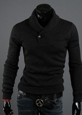 Korean Style Solid Color Polo Collar Long Sleeves Cotton Blend Sweater For Men - BLACK L