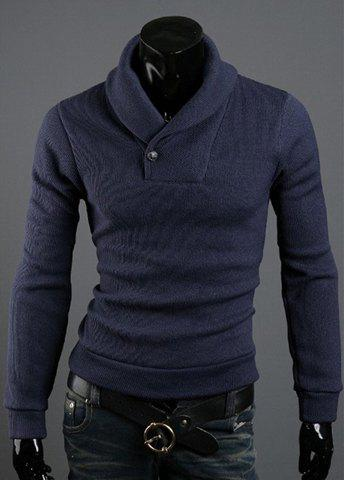 Korean Style Solid Color Polo Collar Long Sleeves Cotton Blend Sweater For Men - NAVY M