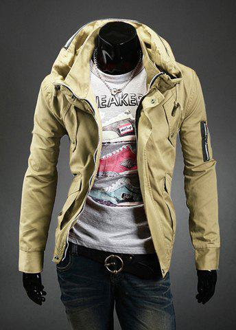 Stylish Double Stand Collar Solid Color Long Sleeves Polyester Jacket For Men - KHAKI 2XL