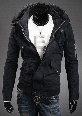 Stylish Slimming Double Stand Collar Solid Color Long Sleeves Men's Polyester Jacket - BLACK L