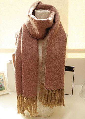 Warm Color Patchwork Thick Scarf With Tassels For Winter For Women - COLOR ASSORTED