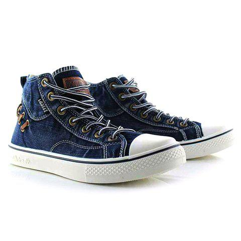 Preppy Splice and Lace-Up Design Canvas Shoes For Men - BLUE 42