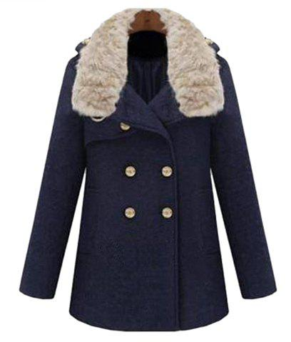 Solid Color Woolen Turn-Down Collar Double-Breasted Long Sleeves Coat For Women - NAVY M