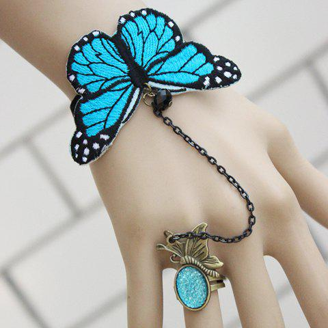 Lolita Retro Butterfly Shape Bracelet With Ring For Women - AS THE PICTURE