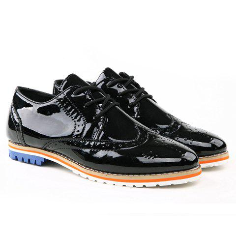 British Style Patent Leather and Openwork Design Men's Casual Shoes - BLACK 41