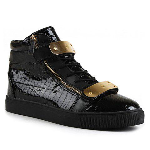 Trendy Metallic and Patent Leather Design Boots For Men - BLACK 41
