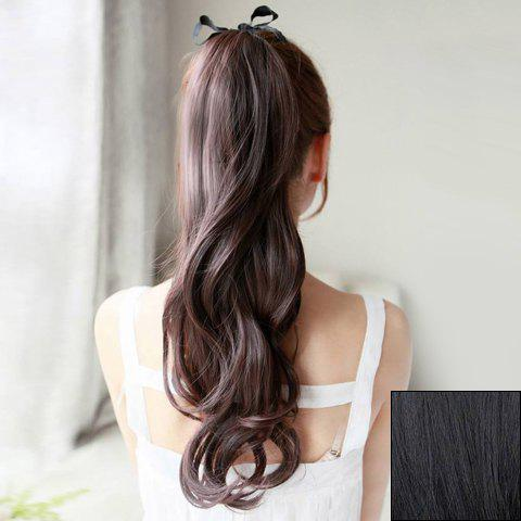 Casual Style Fluffy Long Wavy Women's Synthetic Ponytail - BLACK