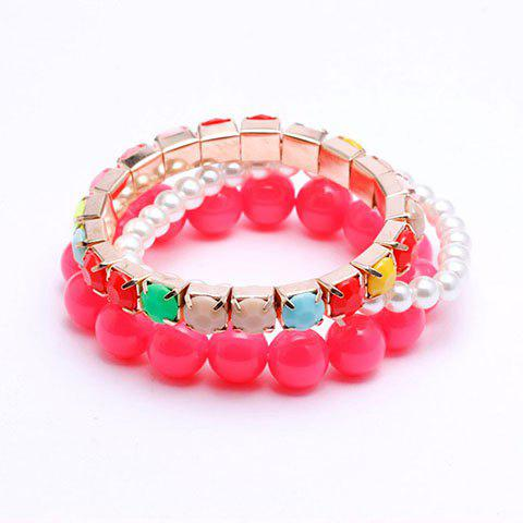 3PCS of Cute Candy Color Beaded Strand Bracelets For Women - COLOR ASSORTED