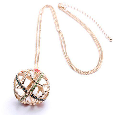 Fashion Diamante Hollow Ball Pendant Sweater Chain Necklace For Women - AS THE PICTURE